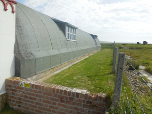 Closer view of the Italian Chapel's Quonset hut structure