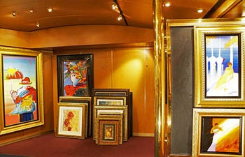 Paintings for the Art Auction on board the Eurodam.