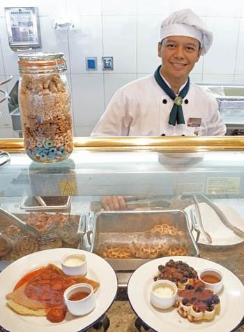 Eurodam Lido Restaurant waffle server.