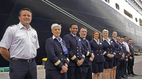 Officers of the Eurodam greeting passengers upon return to the ship in St. Petersburg.