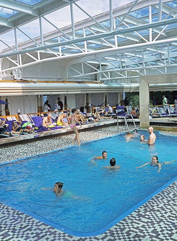 One of the two swimming pools on the Eurodam.