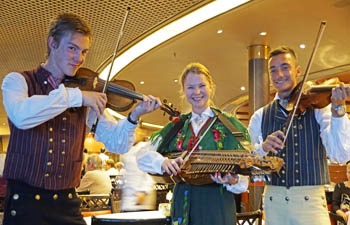 Swedish muscians entetaining diners in The Rembrandt Restaurant during Stockholm stopover.