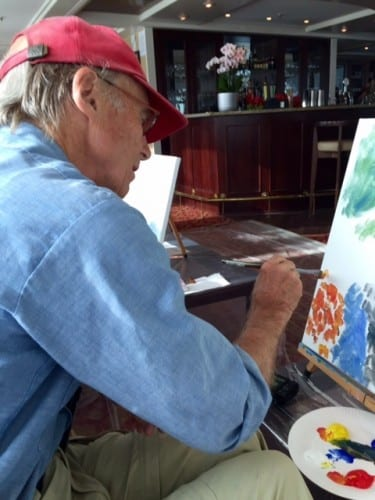 Author's husband Timothy Leland at his easel — photo by Julie Hatfield