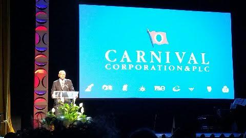 """Arnold Donald, CEO of Carnival Corporation announcing the creation of """"fathom impact travel"""" - a new brand, the 10th for Carnival Corp."""