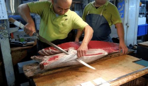 Trimming tuna at Tokyo Fish Market