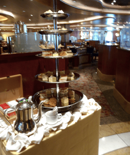 Afternoon tea service on Diamond Princess