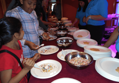 Cookie decorating at the last kids party on Diamond Princess