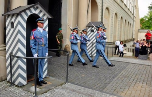 The ceremonial changing of the guards at Prague Castle is a spectacle, and it's free.