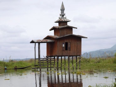Stilt architecture on Inle Lake