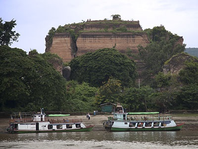 The remnants of Mingun Pagoda seen from the Ayeyarwady
