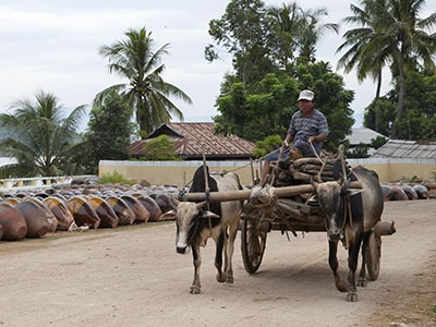 Oxcarts are usefully employed in the pottery business in Nwe Nyein.