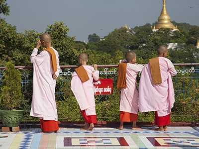 Pink-robed nuns at their convent in Sagaing