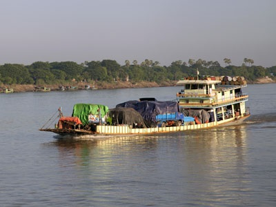 The Ayeyarwady River with typical commerce