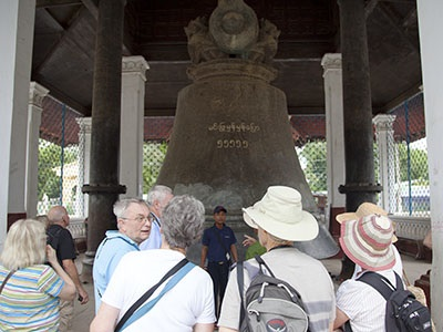 Kindat Pandaw passengers are impressed with the great bell of Mingun.