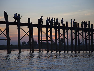 U Bien's Bridge at sunset; Lake Taugmyo in Amarapura
