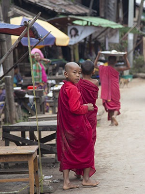 Young monks on the main street of Nwe Nyein