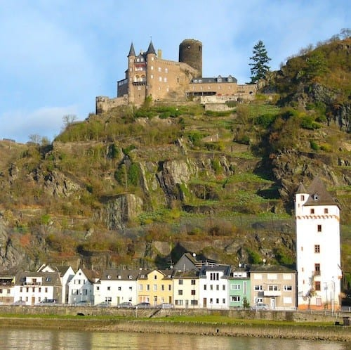 Old and the new. A castle towers over a German town on the Rhine.