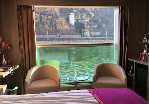 Lowered half way, the French window in my stateroom creates an inside veranda.