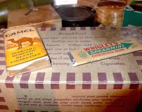A U.S. ration package contained non-perishable food, plus cigarettes and chewing gum.