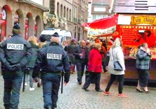 Police patrol the Christmas Market in Strasbourg.