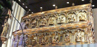 An ornate gold chest is said to contain the remains of the Magi who followed the star of Bethlehem to Jesus.