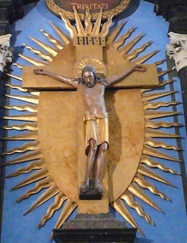 A priceless crucifix in the cathedral was carved from one piece of wood.