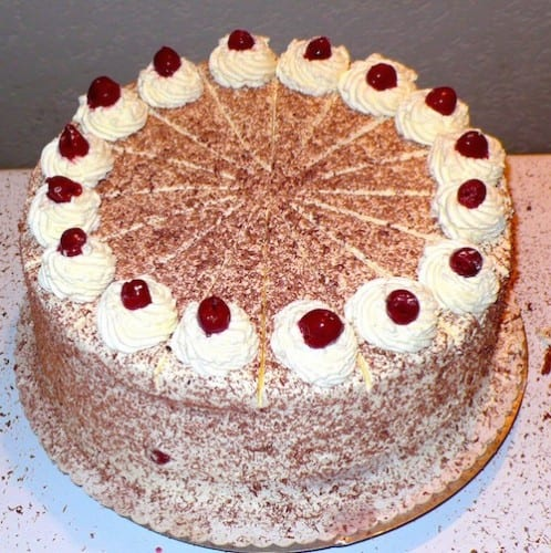 The traditional Black Forest Cake has strong liquor in it.