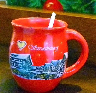A snow scene decorates the collectible mug from Strasbourg.