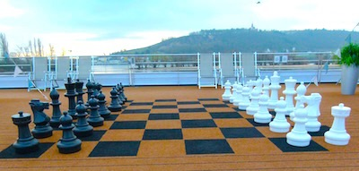 A giant chess board is ready for competition on the Sun Deck.