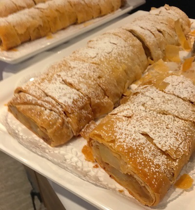 Trays of apple strudel wait for afternoon tea aboard the Silver II.