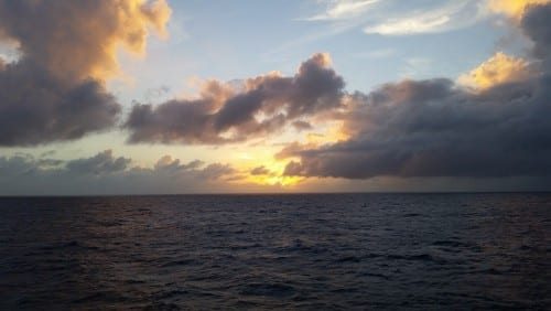 Our first sunset at sea.