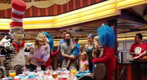 Cat in the Hat leads the Dr. Seuss character breakfast on Carnival Cruise Line's Freedom