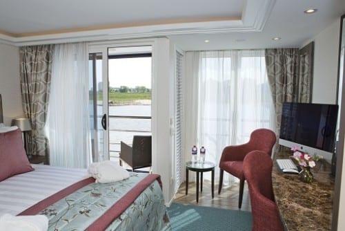 AmaSonata stateroom showing twin balconies