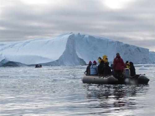 Heading towards giant icebergs