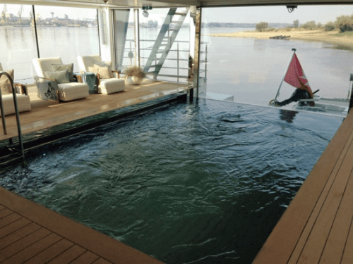 Swimming pool on the modern Danube River vessel, Emerald Dawn, of Emerald Waterways