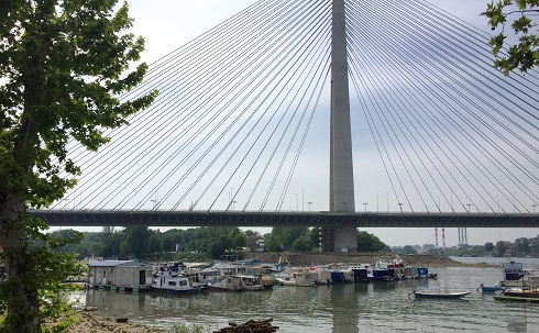 Belgrade makes suspension bridges a specialty. This one, over the Sava River in Belgrade