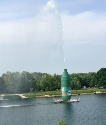 "Belgrade's manmade Ada Lake (with bottle advertising sparkling water) and recreational park (nicknamed ""Belgrade's Sea"")"