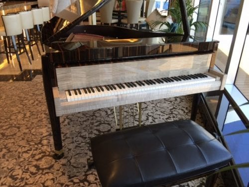 The suite's $250,000 Steinway piano