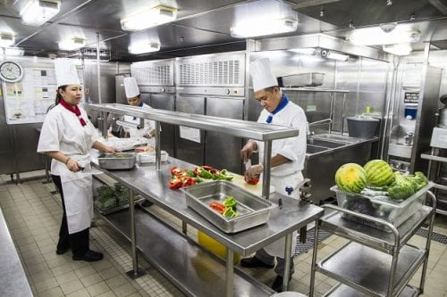 A galley tour gave us a behind-the-scenes glimpse of the sparkling and efficient environment that produces every meal served onboard Wind Surf.
