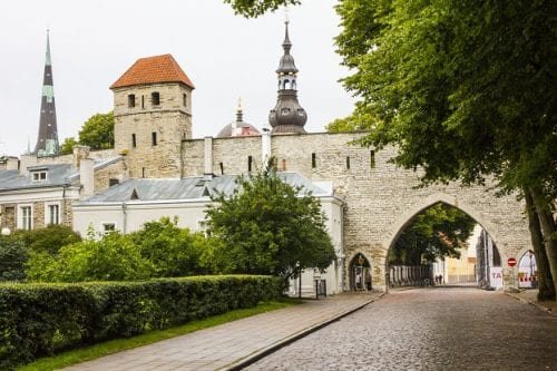A section of Tallinn's imposing 14th century town wall still stands at the entrance to the city's Old Town.