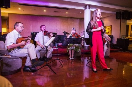 The talented classical ensemble Tallinn Oopra Kvartet featuring 11-year-old singer/violinist Annabel Soode provided an evening of onboard entertainment during Wind Surf's visit to the Estonian capital.