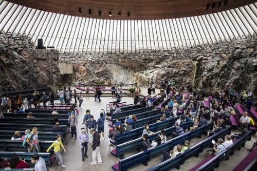 One of Helsinki's premier attractions, Temppeliauko Church (better known as the Rock Church) is hewn from solid granite and topped by an impressive 78-foot high copper dome.