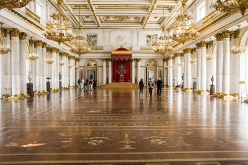 St. George Hall was the venue for all major state ceremonies at the Winter Palace, Hermitage Museum, St. Petersburg, Russia.