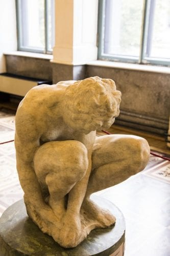 "The unfinished sculpture, ""The Crouching Boy,"" is the sole sculpture from Michelangelo in the collections of the Hermitage Museum in St. Petersburg, Russia."