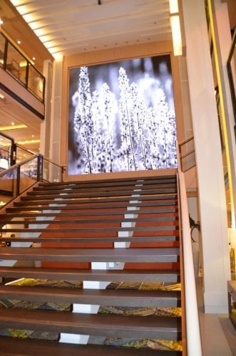 Decor on the Viking Star is spare, the main stairway features a screen with rotating