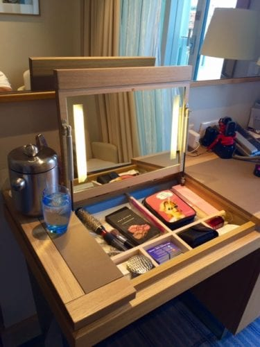 The make-up drawer in the desk is quite handy.