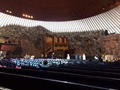The Temppeliaukio Church in downtown Helsink is world famous for being built into solid rock