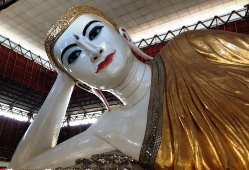 Reclining Buddha in Yangon, Myanmar, is ...