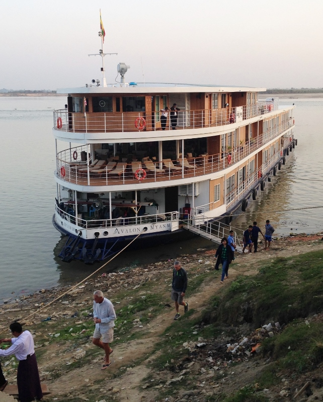 Avalon Myanmar docked at Katha, where George Orwell once worked as a policeman. His first novel, Burmese Days, was set in Katha.