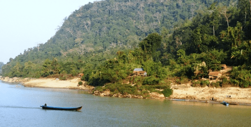 Occasional villages on the banks of the Irrawaddy in northern Myanmar